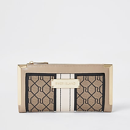 Brown RI Monogram foldout purse