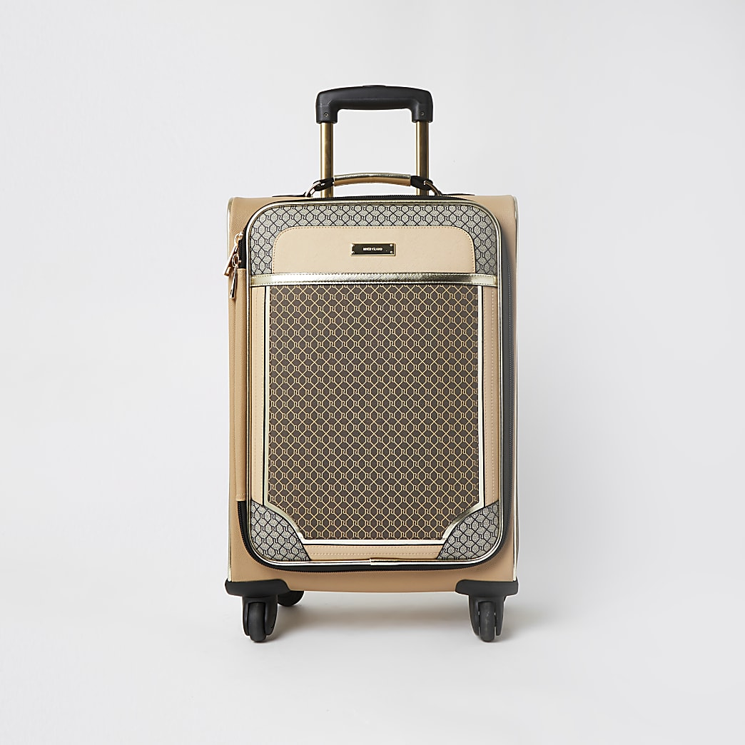 Brown RI monogram four wheel suitcase
