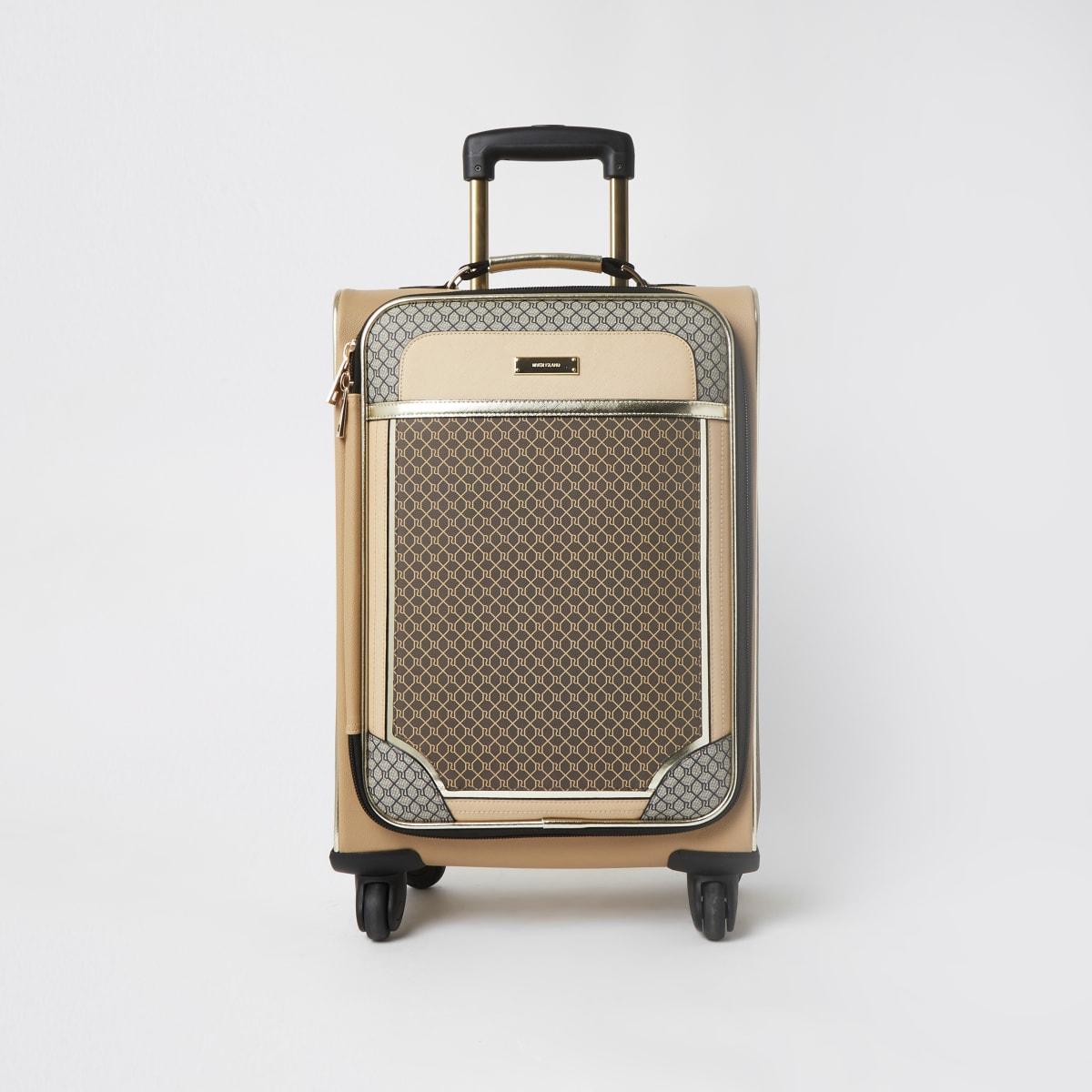 Brown RI monogram four wheel suitcase