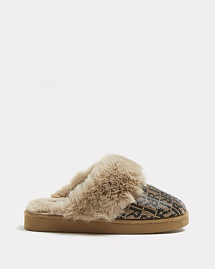 Brown RI monogram heat seal slippers