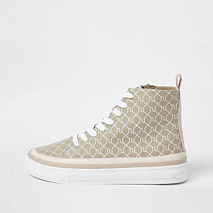 Brown RI monogram high top trainers