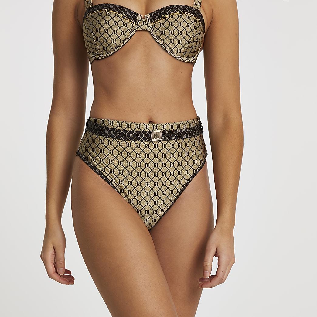 Brown RI monogram high waisted bikini bottoms