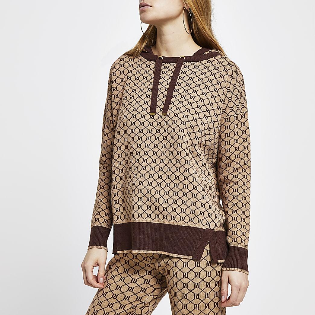 Brown RI monogram hoodie