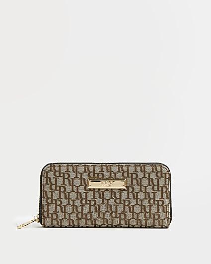 Brown RI monogram jacquard purse