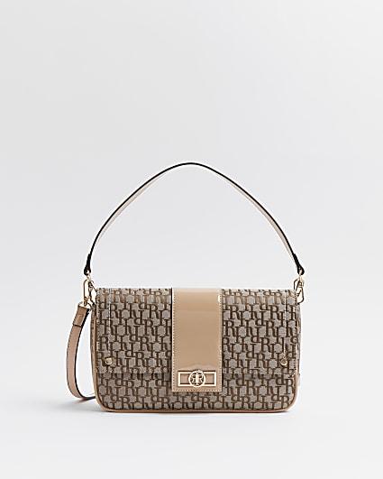 Brown RI monogram jacquard shoulder bag