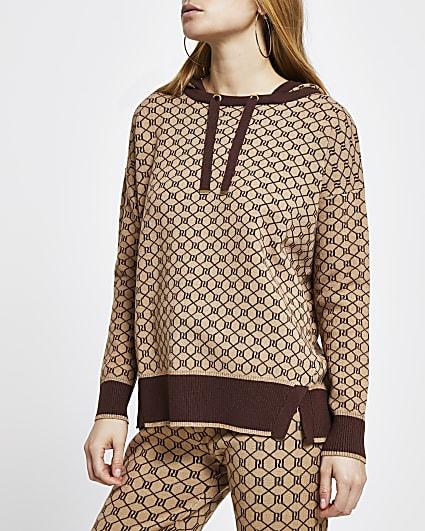 Brown RI monogram knitted hoodie