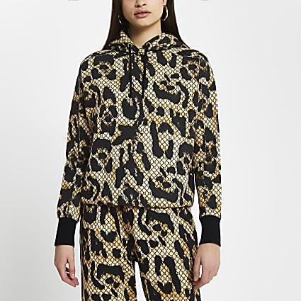 Brown RI monogram leopard print hoodie
