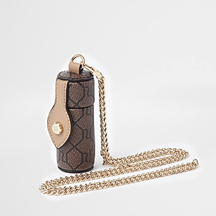 Brown RI monogram lipstick / goods holder