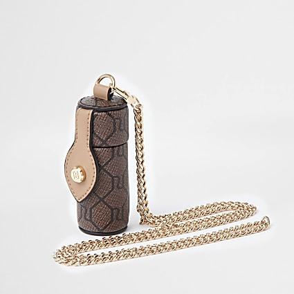 Brown RI monogram lipstick crossbody handbag