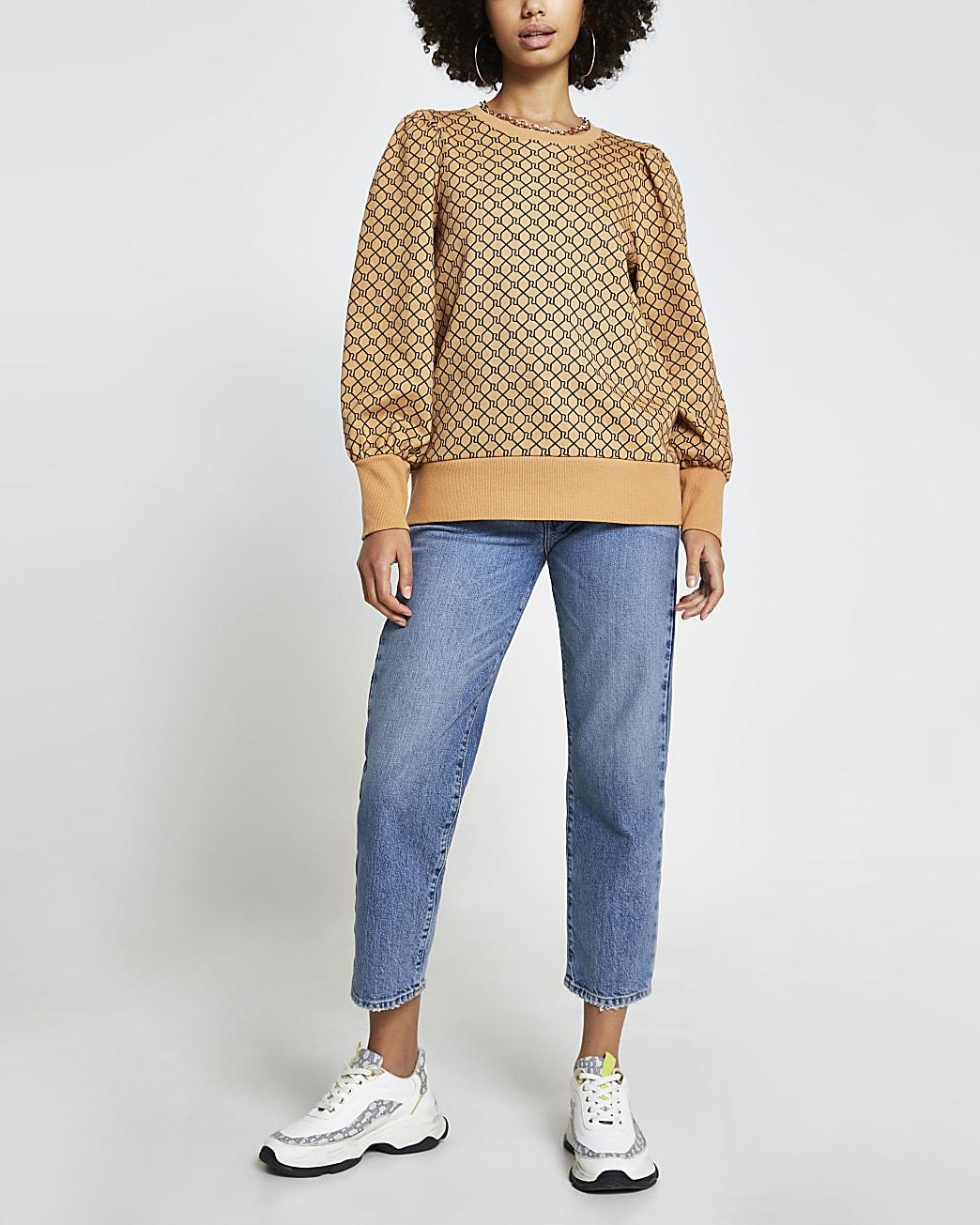 Brown RI monogram long sleeve sweatshirt
