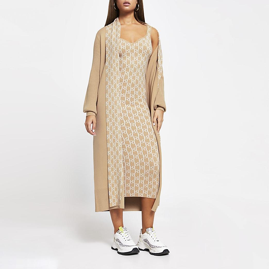 Brown RI monogram longline cardigan