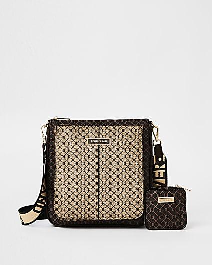 Brown RI monogram messenger bag