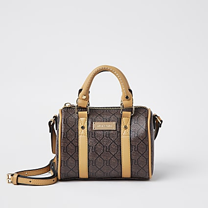 Brown RI monogram mini bowler crossbody bag