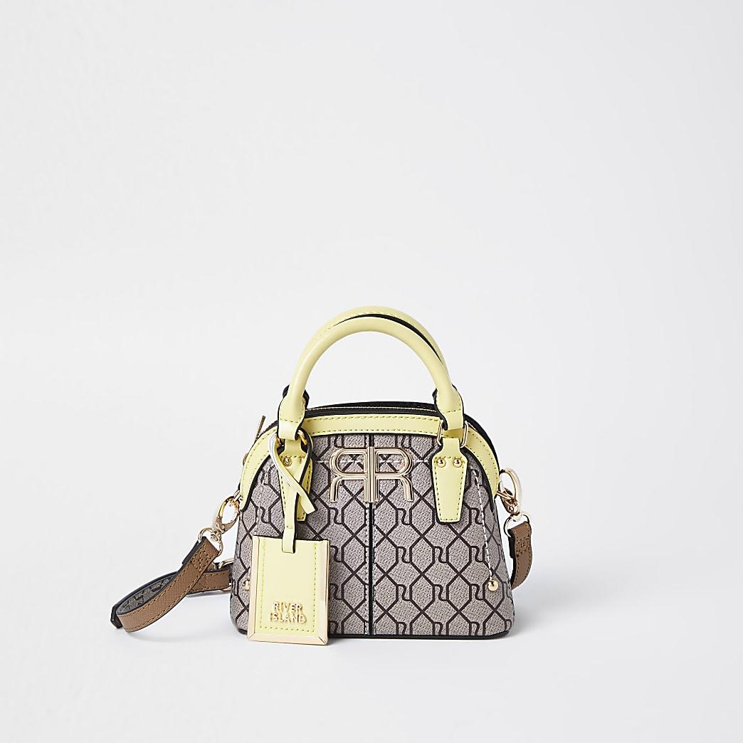 Brown RI monogram mini tote bag