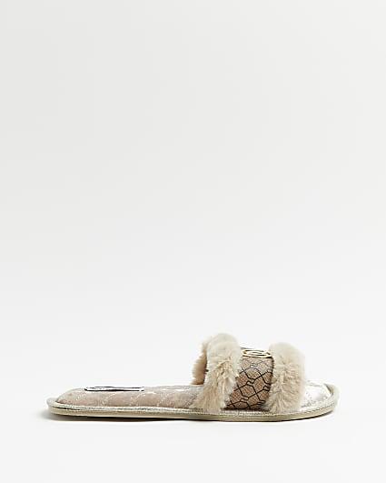 Brown RI monogram open toe slippers