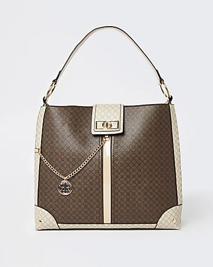 Brown RI monogram oversized slouch bag