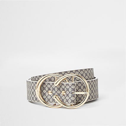 Brown RI monogram print buckle belt
