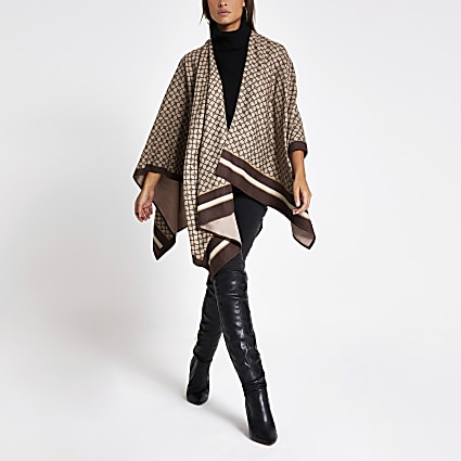Brown RI monogram print cape