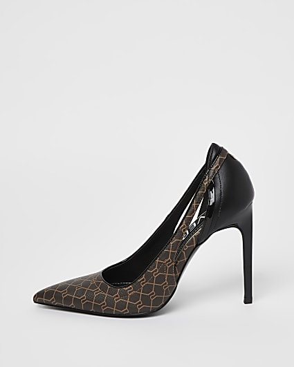Brown RI monogram print court shoes
