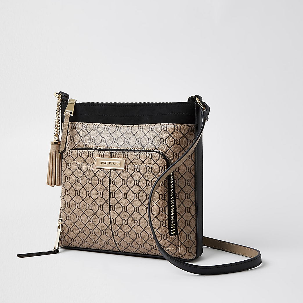 Brown RI monogram print cross body handbag