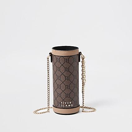 Brown RI monogram print crossbody handbag