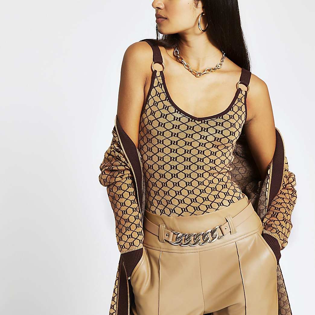 Brown RI monogram print knitted vest