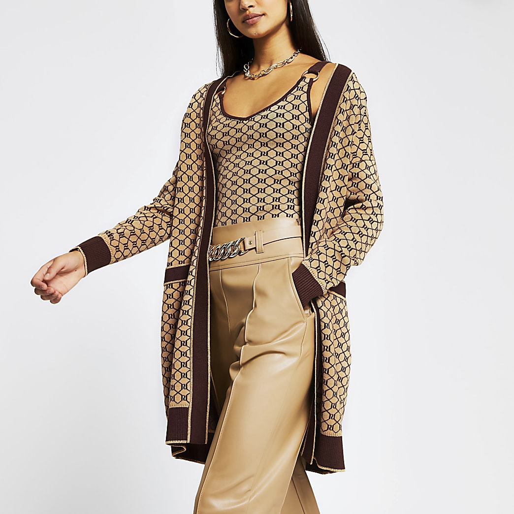Brown RI monogram print long sleeve cardigan