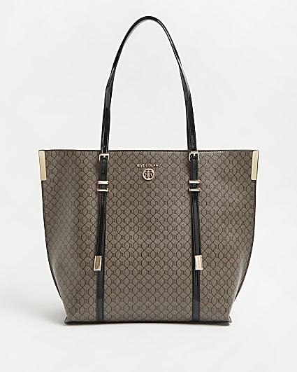 Brown RI monogram print shopper bag