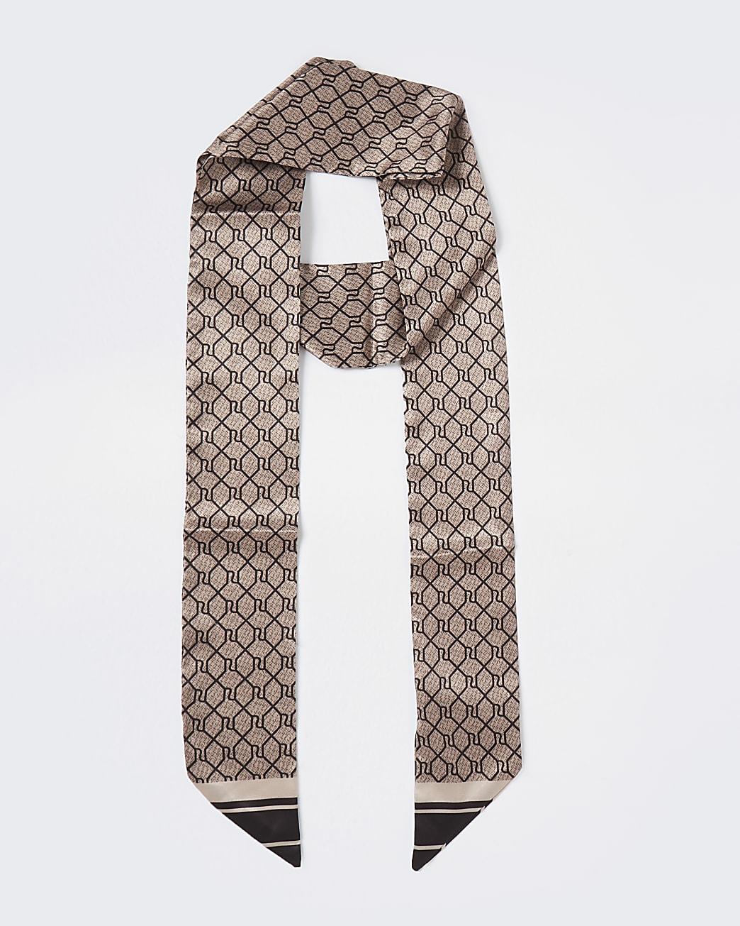 Brown RI monogram print skinny scarf