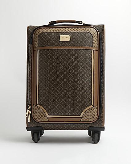 Brown RI monogram print suitcase