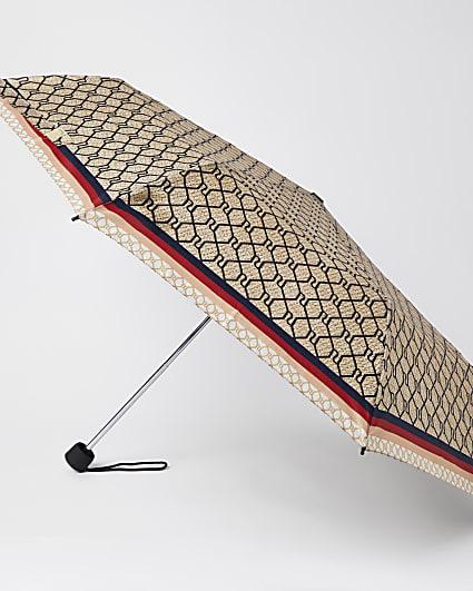 Brown RI monogram print umbrella