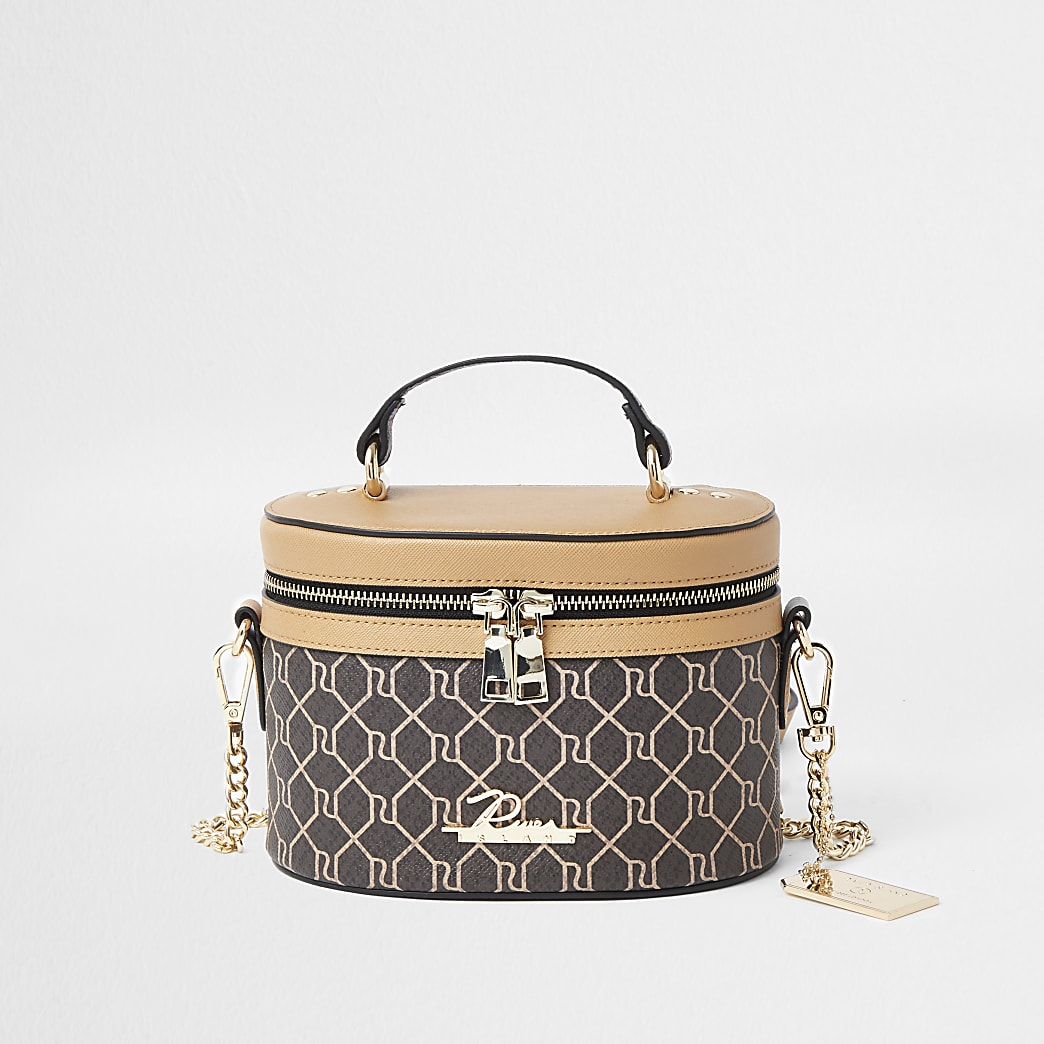 Brown RI monogram print vanity cross body bag