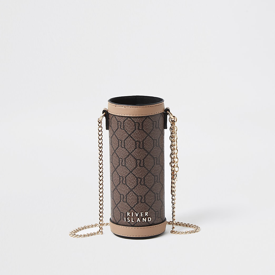 Brown RI monogram print water bottle holder