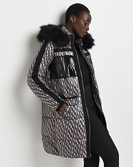 Brown RI monogram puffer coat