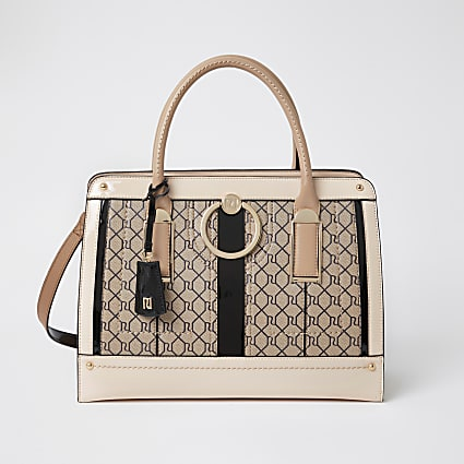 Brown RI monogram ring front tote bag