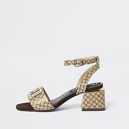 Brown RI monogram sandals