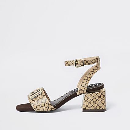 Brown RI monogram sandals