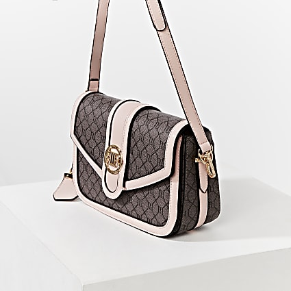 Brown RI monogram satchel bag