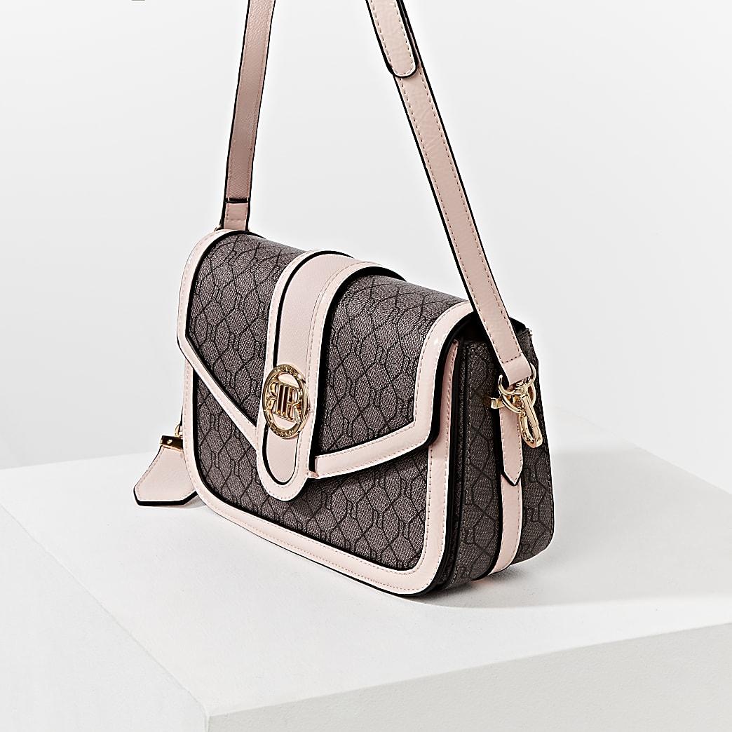 Brown RI monogram satchel bag