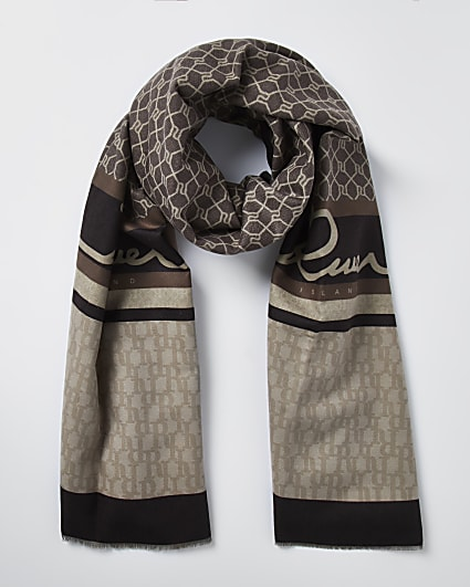 Brown RI monogram scarf