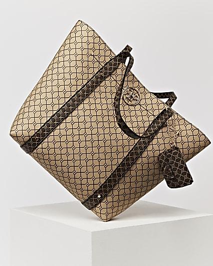 Brown RI monogram shopper and pouch bag