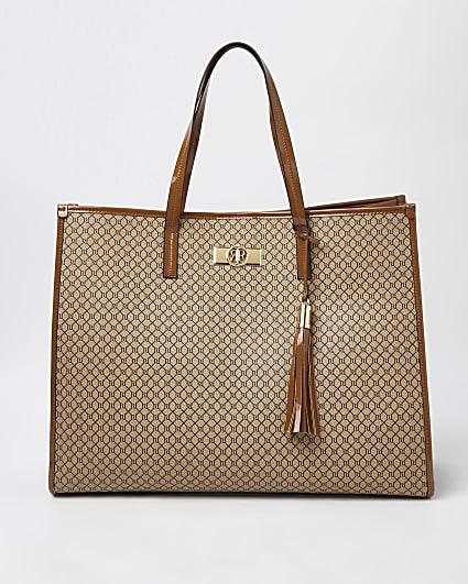 Brown RI monogram shopper bag