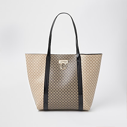 Brown RI monogram shopper tote handbag