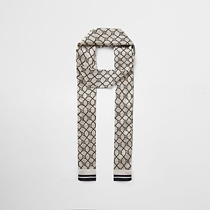 Brown RI monogram skinny scarf
