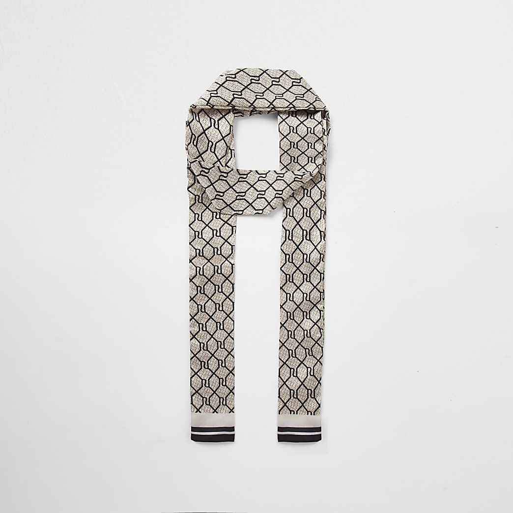 Brown RI monogram skinny scarf