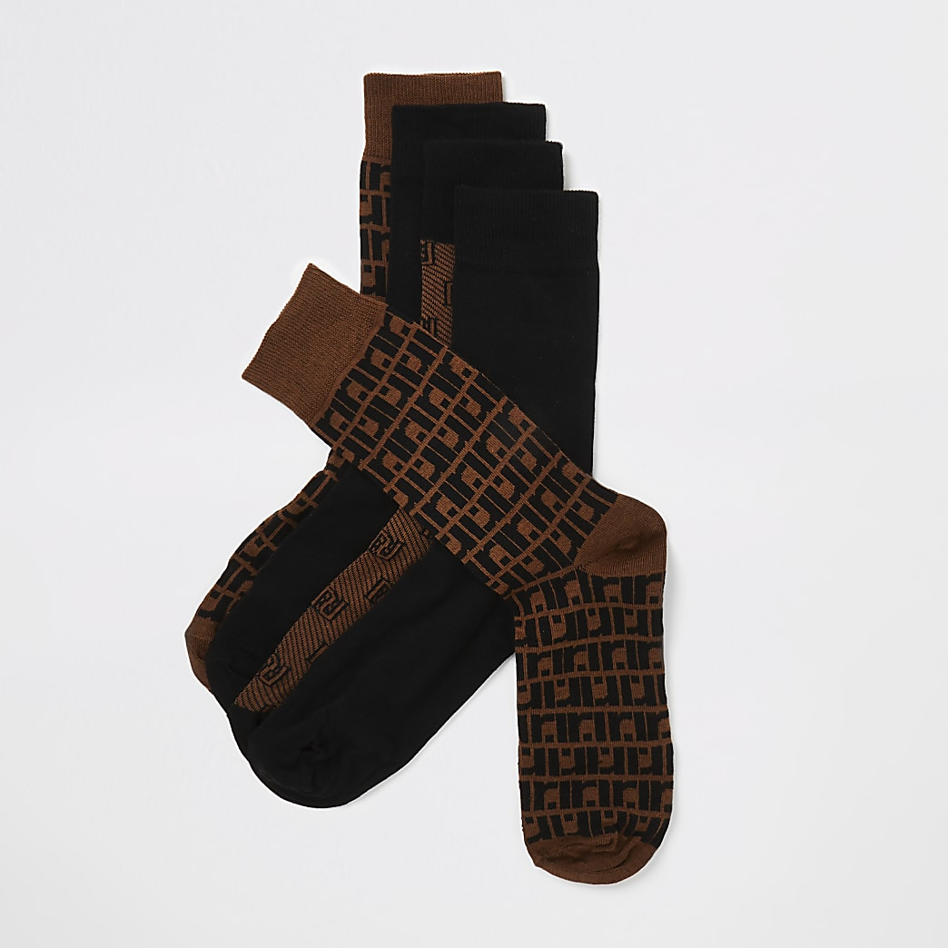Brown RI monogram socks 5 pack
