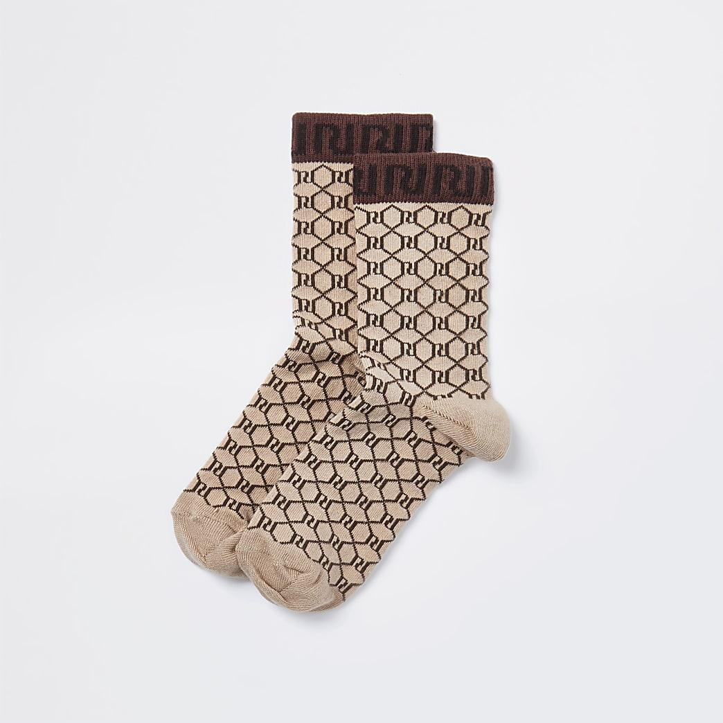 Brown RI monogram socks