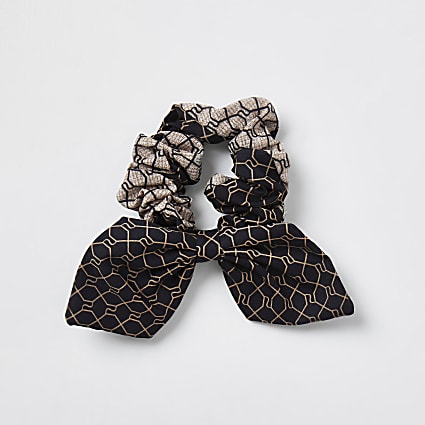 Brown RI monogram splice bow scrunchie