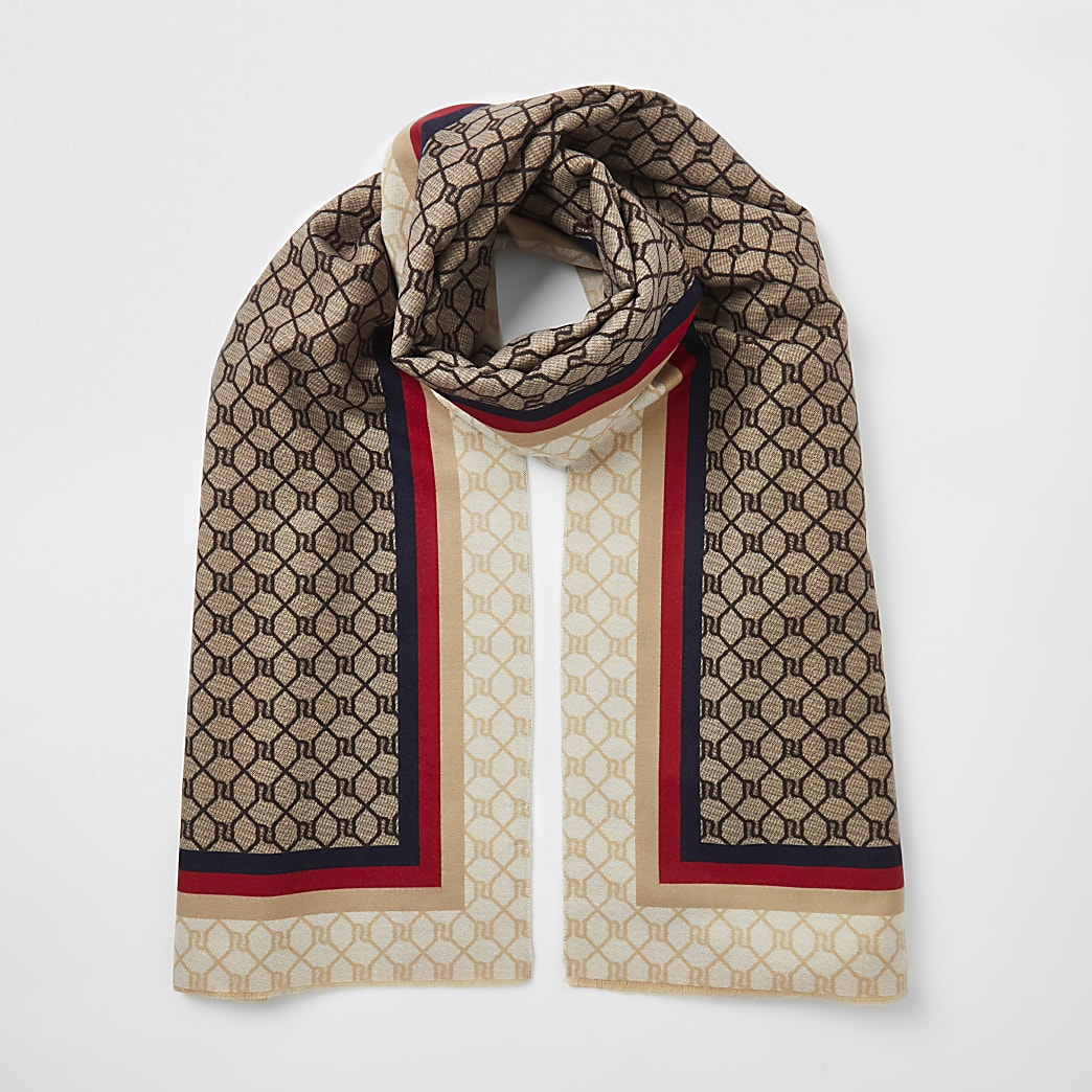 Brown RI monogram stripe trim scarf