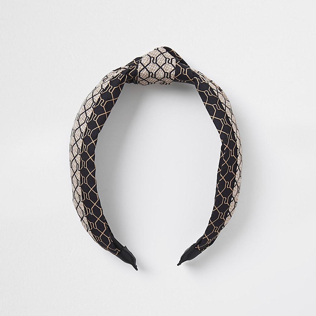 Brown RI monogram tie knot headband